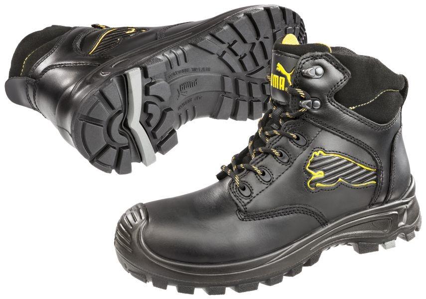 puma borneo black mid black leather safety boots footwear. Black Bedroom Furniture Sets. Home Design Ideas